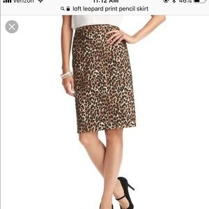 LOFT leopard print pencil skirt